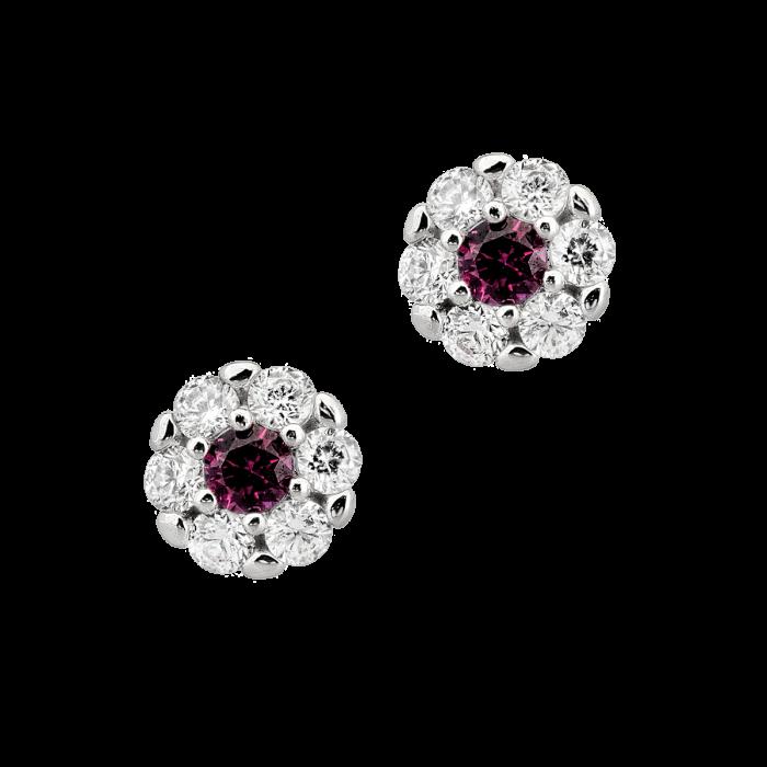 cercei aur alb si cristal rosu ACAO03303 png